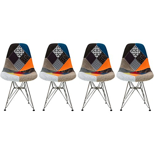 2xhome - Set of Four  Multicolor – Modern Upholstered Eame