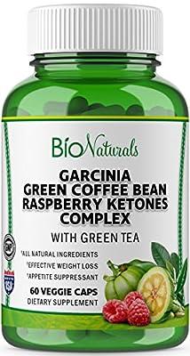 Garcinia Cambogia Premium HCA Weight Loss Pills For Women & Men – 100% Pure Diet Supplement with Raspberry Ketones, Green Coffee Beans & Green Tea Extract by Bio Naturals – 60 Veggie Capsules