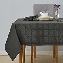 Deconovo Decorative Jacquard Tablecloth with Geometric Patterns Oblong Wrinkle Resistant and Waterproof Tablecloths for Kitchen 54 X 108 Inch Grey