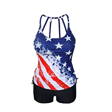 Women Plus Size Bikini Set Patriotic National Flag Pattern Two Piece Independence Day Swimsuit