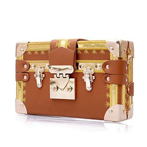 Junlinto Small à Messenger Main bandoulière Lock à Green Case Sacs Women Marron Crossbody Box Bag Fashion Sac rfOHrvq7