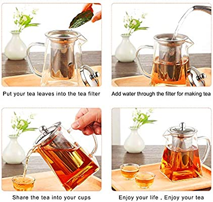 Heat Resistant Loose Leaf Teapot,Stovetop Safe 950 ml//26.4 Ounce Warmyee Hofu Small Clear High Borosilicate Glass Tea Pot with Removable 304 Stainless Steel Infuser