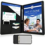 Portfolio - Padfolio Document Organizer Folder for Job Resume, Interview and Meetings - Phone Pocket and Business Card Holder, Letter Size Writing Notepad Slot - for Man and Woman - Black PU Leather