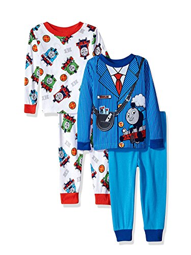 Thomas The Train & Friends Boys 4 piece Pajamas Set (2T, Costume Blue/White) ()