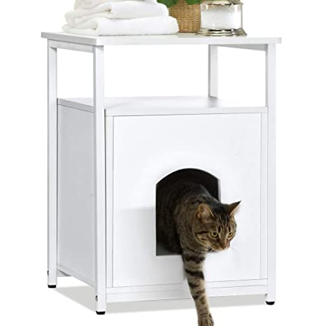 Lv. life Nightstand Pet House - Arenero para Gatos, Madera, Color Blanco