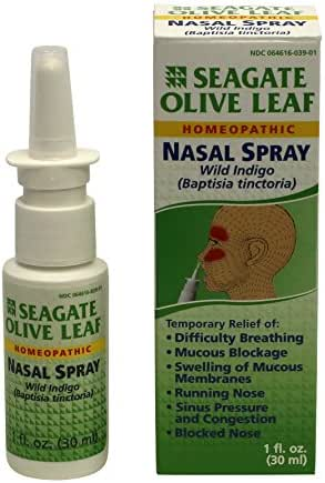 Seagate Products Homeopathic Olive Leaf Nasal Spray (Pack of 1) 1 Ounce
