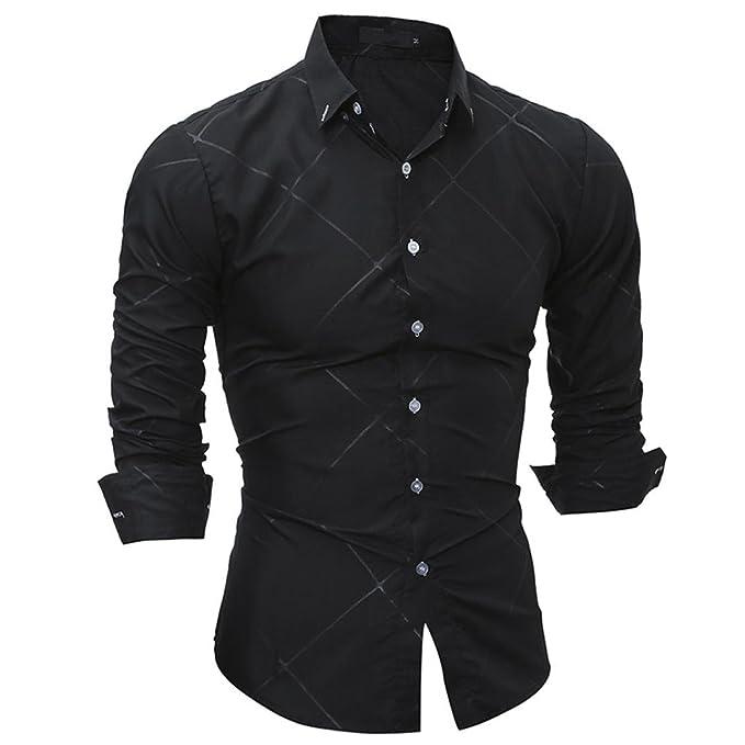 Herren Hemd Longra Männer Langarmshirt Casual Slim Fit Langarm Hemd Blusen  (M, Black)