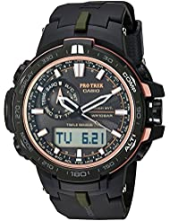Casio Mens Pro Trek Quartz Stainless Steel and Resin Sport Watch, Color:Black (Model: PRW-S6000Y-1CR)