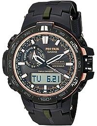 Men's 'Pro Trek' Quartz Stainless Steel and Resin Sport Watch, Color:Black (Model: PRW-S6000Y-1CR)