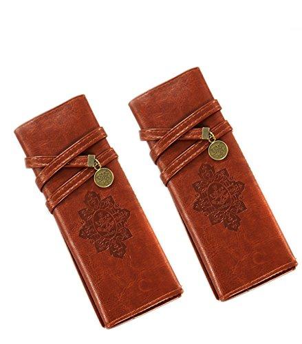 COM-FOUR® Etui für Pinsel Stifte Make Up Pinsel Kosmetik Leder braun (2 Stück)