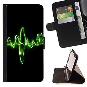 Momo Phone Case / Flip Funda de Cuero Case Cover - Waves Música verdes;;;;;;;; - Samsung Galaxy A5 ( A5000 ) 2014 Version