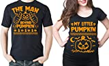 Halloween Maternity Couple Shirts Little Pumpkin Halloween Shirts Pregnancy T-shirt Halloween costume Shirts Men XL - Women Small