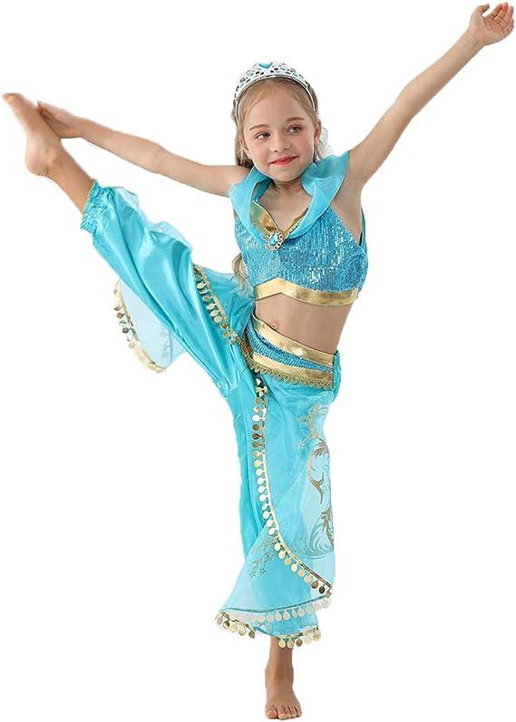nihiug Princesa Falda jazmín Princesa Vestido Aladdin Disfraz de ...