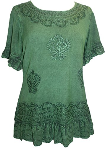 Agan Traders 142 B Medieval Peasant Ari Blouse Top (2X, E Green)