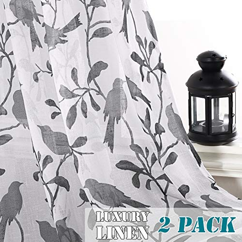 H.VERSAILTEX Window Treatments 2 Pack Open Weave Semi-Sheer Natural Linen Blended Sheer Curtains Privacy Protected Texture Drapes with Nickel Grommet, Gray Birds Pattern, 52 x ()