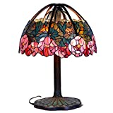 Bieye L10547 25-inch Water-lily Tiffany Style Stained Glass Table Lamp with 100% Brass Base, 32-inch Tall