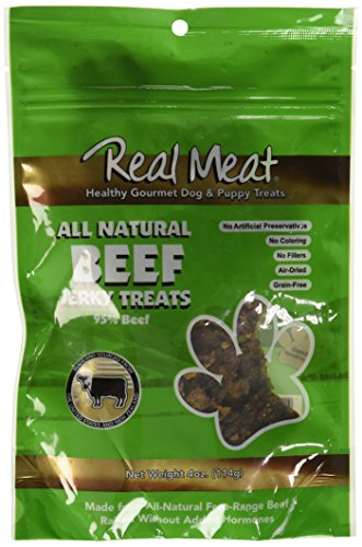 (THE REAL MEAT COMPANY 828002 Dog Jerky Beef Treat, 4-Ounce )