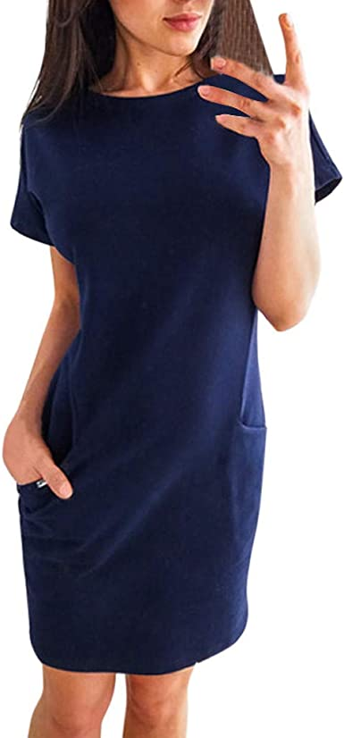 Womens Casual Pocket Solid Summer Ladies Short Sleeve Evening Party Mini Dress