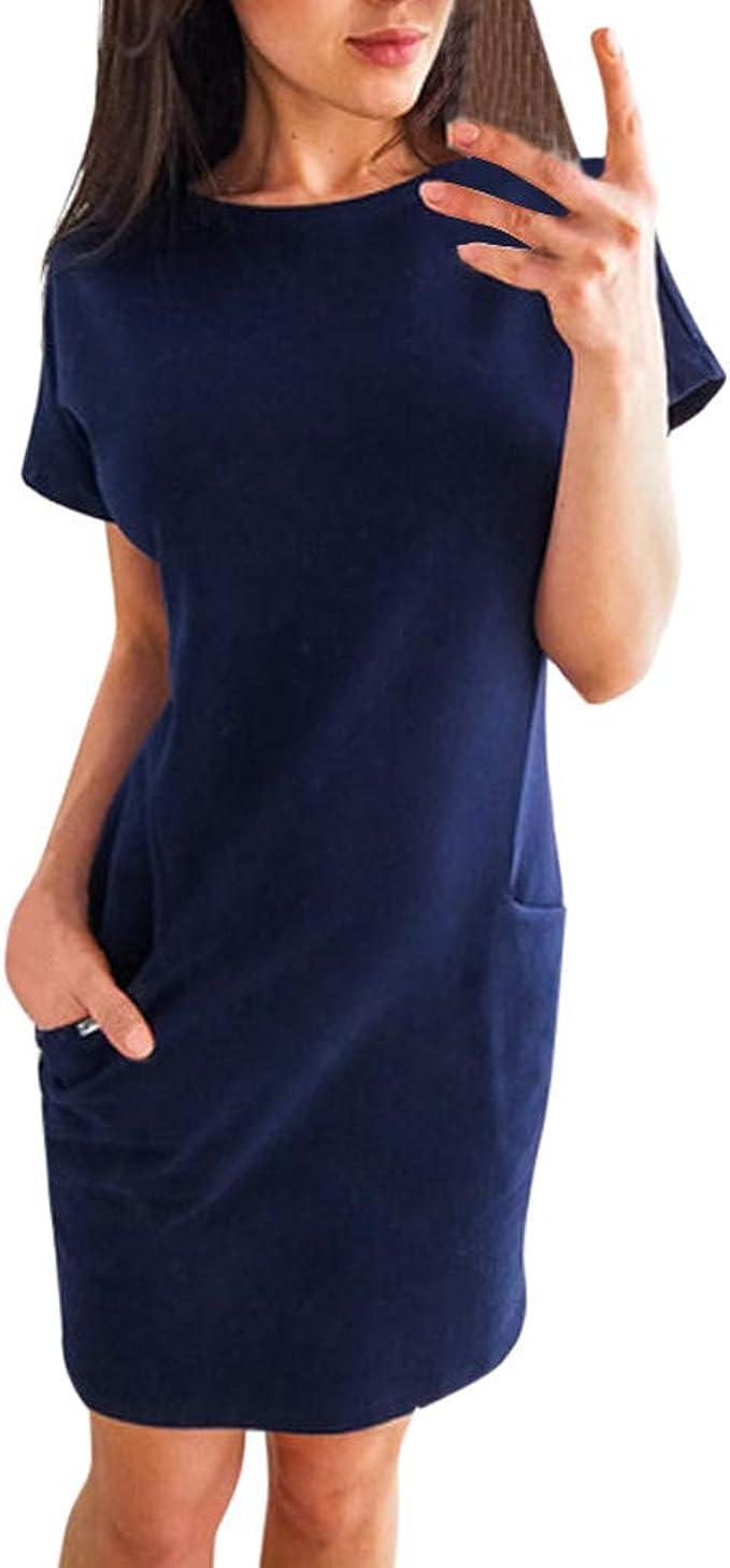 T Shirt Kleid Kleider Sommerkleid Damen Sommer Tunika Sexy Kurzes