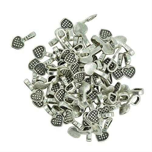 Baosity 100pcs Heart Glue on Bail Earring Bails For Glass Tile DIY Charms Pendant Freeform Heart Ring