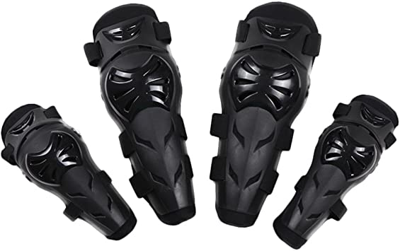 Motocross Cycling Elbow Knee Pads Protector Shin Guard Pads Armors Set Black 4Pcs Adults Motorcycle Elbow Knee Pads
