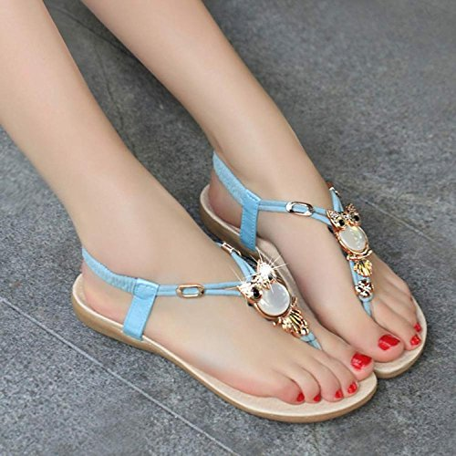 Minetom Mujer Sandalias Búho Diamantes De Imitación Dedo Del Pie Del Clip Sandalias Verano Playa Chancletas Azul