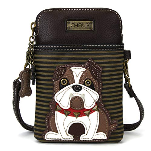 (Chala Crossbody Cell Phone Purse-Women PU Leather Multicolor Handbag with Adjustable Strap - Bulldog - Striped)