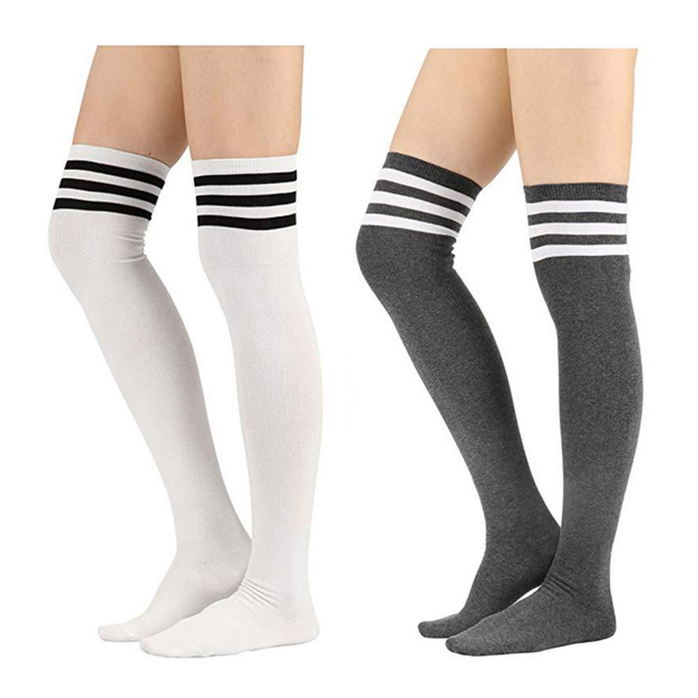 Womens Knee High Socks,Striped Over Knee Long Casual Socks Thigh High Leg Warmer Stockings