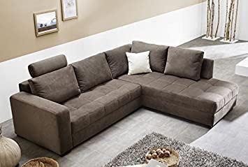 Polsterecke Aurum Mikrofaser Braun 267x221cm Bettfunktion Sofa Couch