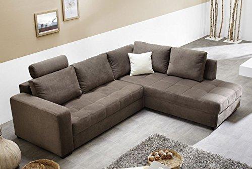 Polsterecke Aurum Mikrofaser Braun 267x221cm Bettfunktion Sofa Couch