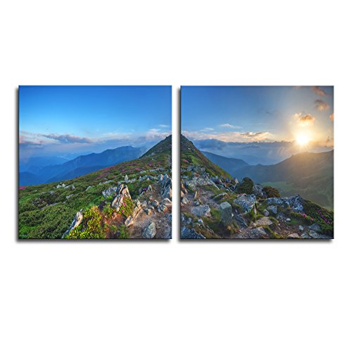 Beauty Rhododendron in High Mountains x 2 Panels
