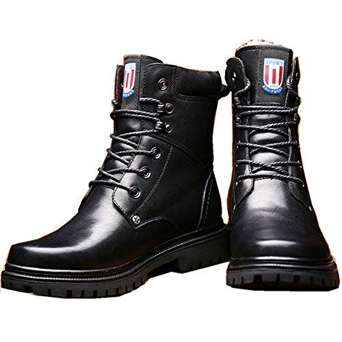 Taoffen Mens Lace Up High Rise Boots Scarpe Invernali Nere