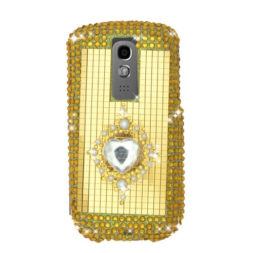 3g Faceplate (Sparkling Gold with Pearl Emblem Heart Full Diamond Rhinestone Snap on Hard Skin Faceplate Bling Cover Case for Htc Mytouch 3g)