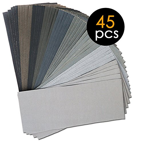 45Pcs Wet Dry Sandpaper, 400/600/800/1000/1200/1500/2000/2500/3000 Grit Assorted Sanding Sheets for Automotive Polishing, Metal Sanding, Wood Furniture Finishing, 9 x 3.6 inch by BAISDY