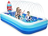 Giant Kids Inflatable Swimming Pool - 118'' Sprinkler Blow Up Kiddie Pool with Water Splash and Solar System a