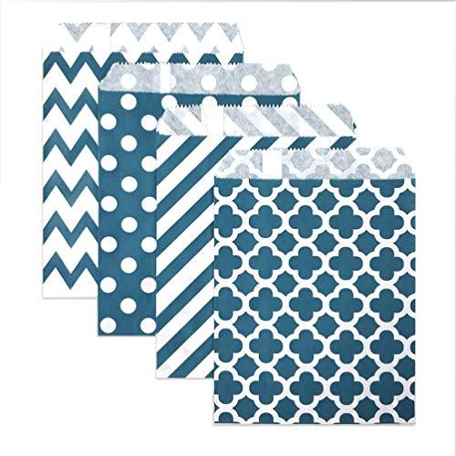 KEYYOOMY 100 Pcs Candy Buffet Bags Small Polka Dot Paper Treat Bags (Dark Teal, 5 inch X 7 inch)