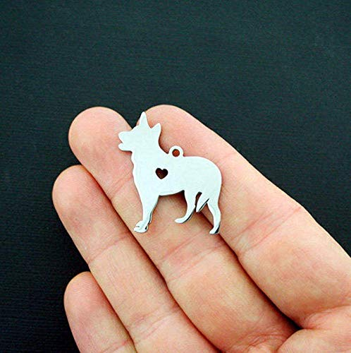 German Shepherd Charms Stainless Steel 2 Sided Charm Stamping Tag Vintage Crafting Pendant Jewelry Making Supplies - DIY for Necklace Bracelet Accessories by CharmingSS