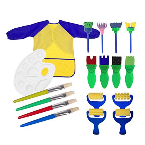 18pcs Toddlers Early Learning Painting Tools - Art Smock Apron with Palette,Sponge Paint Brushes,Roller Brayers,EVA Flower Brushes,Bristle Hair Brushes for Art Craft DIY Supplies,Birthday/Xmas Gifts (Roller Girl Palette)