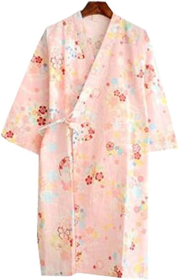 Pijama de mujer/Albornoz - Kimono Robe - Ligero 100% algodón (Delgado), A6: Amazon.es: Ropa y accesorios