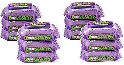 (Boogie Wipes, Wet Wipes for Baby and Kids, Nose, Face, Hand and Body, Soft and Sensitive Tissue Made with Natural Saline, Aloe, Chamomile and Vitamin E, Grape Scent, 30 Count (Pack of 12))