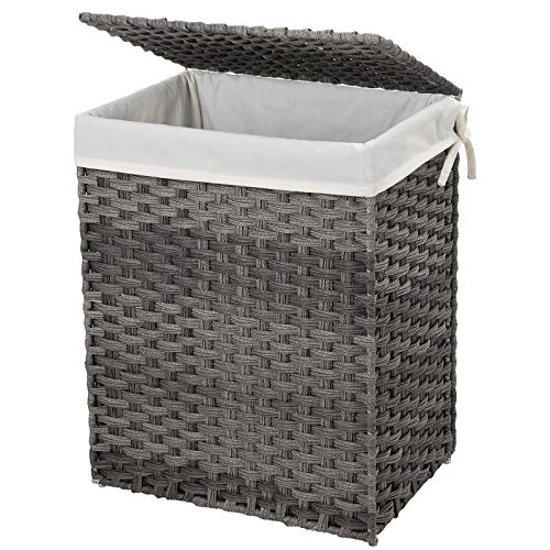 SONGMICS Handwoven Laundry Basket, 90L Synthetic Rattan Wicker Clothes Hamper with Lid and Handles, Foldable, Removable Liner Bag, Stable Iron Frame, Gray ULCB51WG (Hampers Laundry Online)