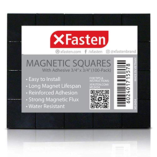 XFasten Magnetic Squares with Adhesive Backing 3/4-Inch x 3/4-Inch (Set of 100) Double-Sided Magnetism- Adhesive Magnets for Magnetic Business Cards, Fridge Organization and DIY Projects