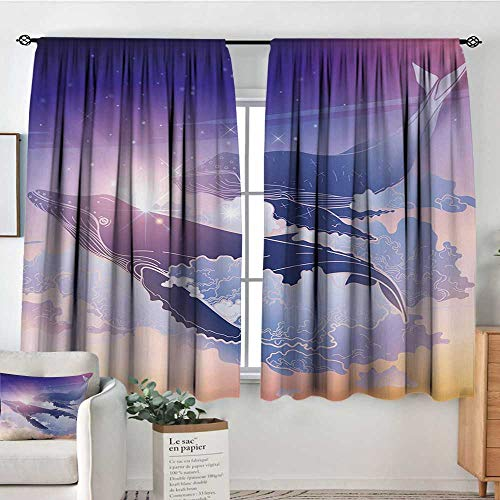 Elliot Dorothy Insulating Blackout Curtains Whale,Whales Flying Dreamy Night Sky with Clouds Magical Fantasy Aquatic Design,Peach Lilac Dark Blue,Drapes Thermal Insulated Panels Home décor 55