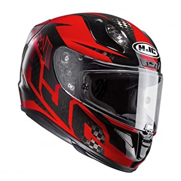HJC Casco de moto, Rojo/Negro, M