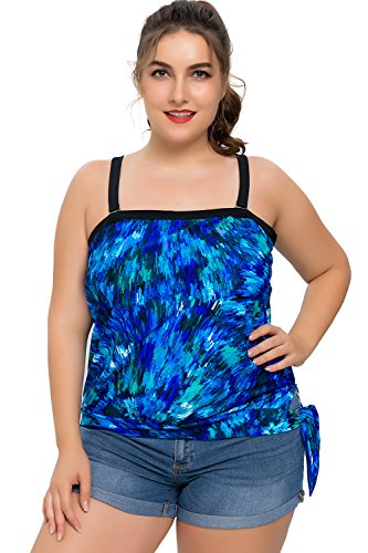 Sociala Womens Plus Size Blouson Swimsuit Bandeau Tankini Bathing Suit Top, 2X Plus, Multi Painting