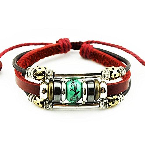 [Real Spark Tribal Flower Beads Strand Metal Spliced Leather Wrap Bracelet, Green] (Easy Homemade Christmas Tree Costumes)