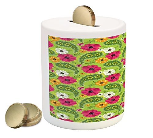 ggy Bank, Floral Pattern with Vivid Paisley Print Old Vintage Boho Style Print, Printed Ceramic Coin Bank Money Box for Cash Saving, Pistachio Pink Orange ()