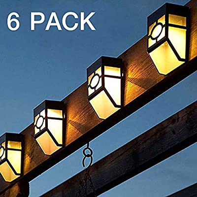 Commart 6X Solar Power Wall Mount LED Light Outdoor Garden Path Fence Lamp Warm White Ships from USA
