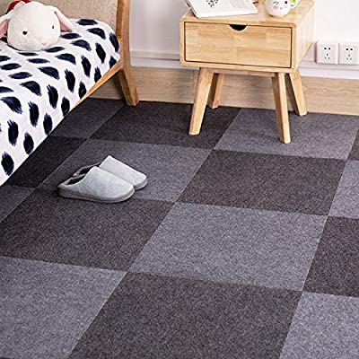 Commercial Carpet Tiles Stick Rug for Office Hotel Meeting Room Kids Bedroom Decor with Non-Slip Backing Free Tapes 12x12inch 20x20inch Dark-Grey Smoke-Grey Color