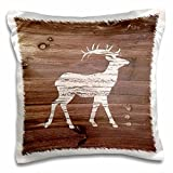 3dRose White Painted Stag on Brown Weatherboard-Not Real Wood Pillow Case, 16 x 16''